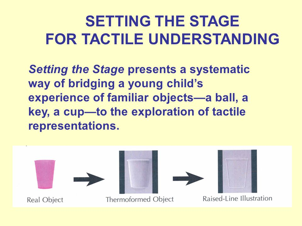 SETTING THE STAGE FOR TACTILE UNDERSTANDING Setting the Stage presents a systematic way of bridging a young childs experience of familiar objectsa ball, a key, a cupto the exploration of tactile representations.