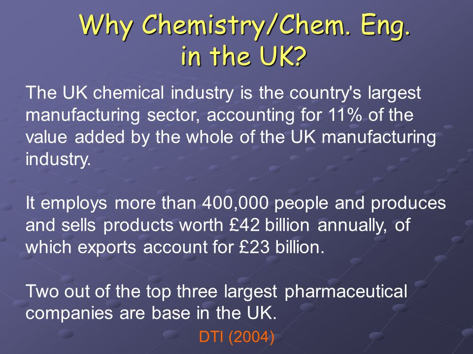 Why Chemistry/Chem. Eng. in the UK.