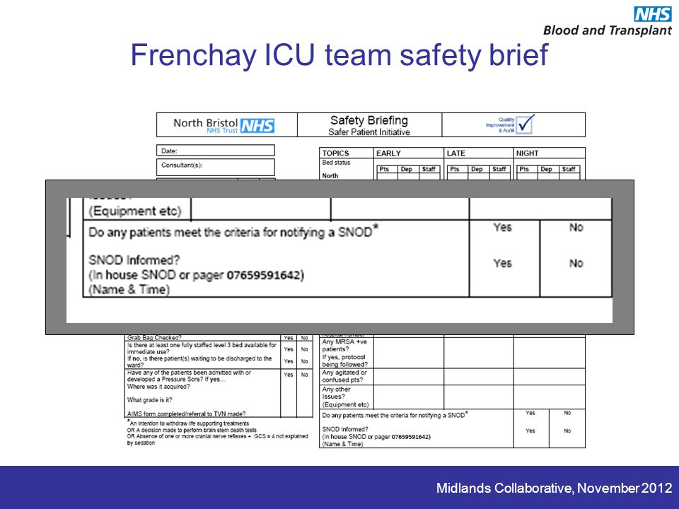 Midlands Collaborative, November 2012 Frenchay ICU team safety brief