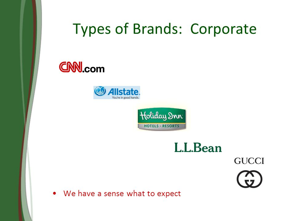 Types of Brands: Corporate We have a sense what to expect