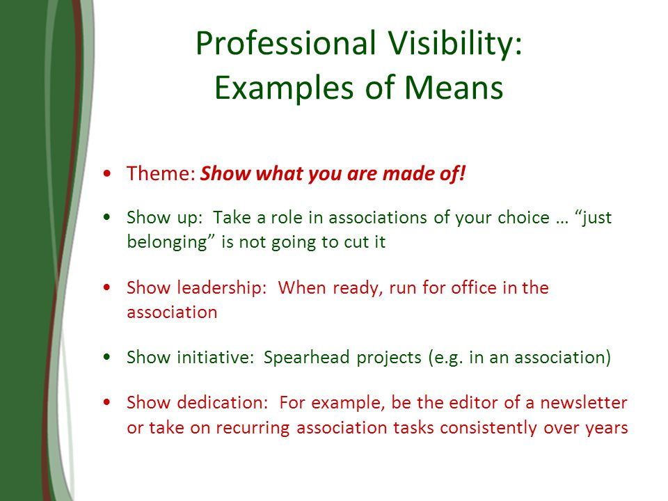 Professional Visibility: Examples of Means Theme: Show what you are made of.
