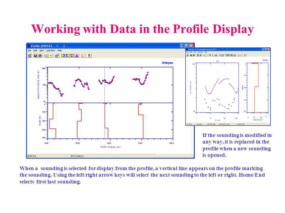 Working with Data in the Profile Display When a sounding is selected for display from the profile, a vertical line appears on the profile marking the sounding.