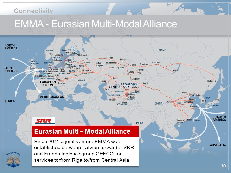10 EMMA - Eurasian Multi-Modal Alliance Connectivity Since 2011 a joint venture EMMA was established between Latvian forwarder SRR and French logistics group GEFCO for services to/from Riga to/from Central Asia Eurasian Multi – Modal Alliance