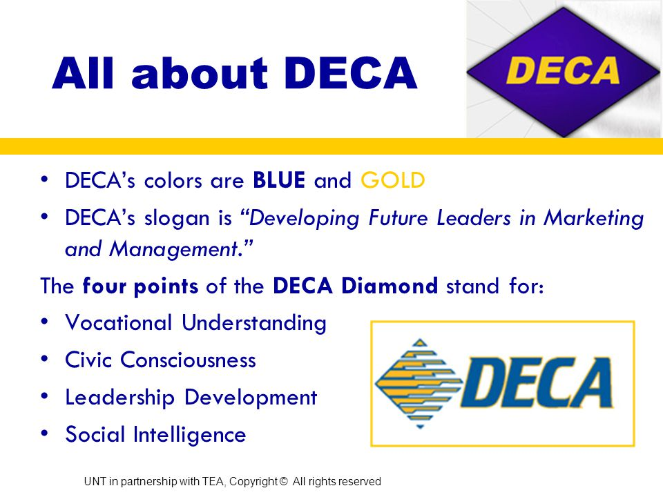 What is DECA. DECA is a co-curricular organization of students enrolled in a marketing class.