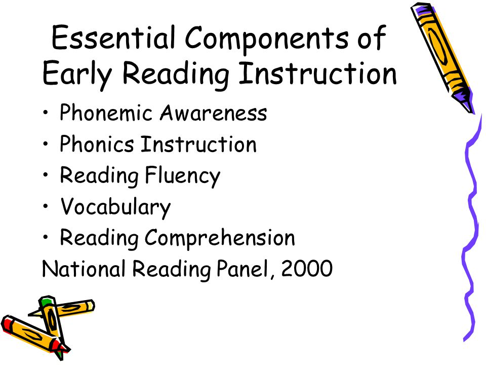 Essential Components of Early Reading Instruction Phonemic Awareness Phonics Instruction Reading Fluency Vocabulary Reading Comprehension National Reading Panel, 2000