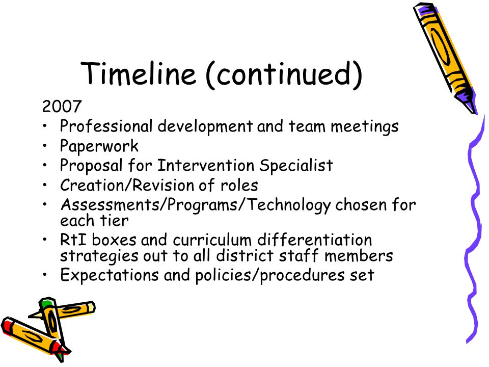 Timeline (continued) 2007 Professional development and team meetings Paperwork Proposal for Intervention Specialist Creation/Revision of roles Assessments/Programs/Technology chosen for each tier RtI boxes and curriculum differentiation strategies out to all district staff members Expectations and policies/procedures set