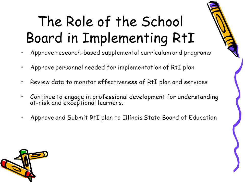 The Role of the School Board in Implementing RtI Approve research-based supplemental curriculum and programs Approve personnel needed for implementation of RtI plan Review data to monitor effectiveness of RtI plan and services Continue to engage in professional development for understanding at-risk and exceptional learners.