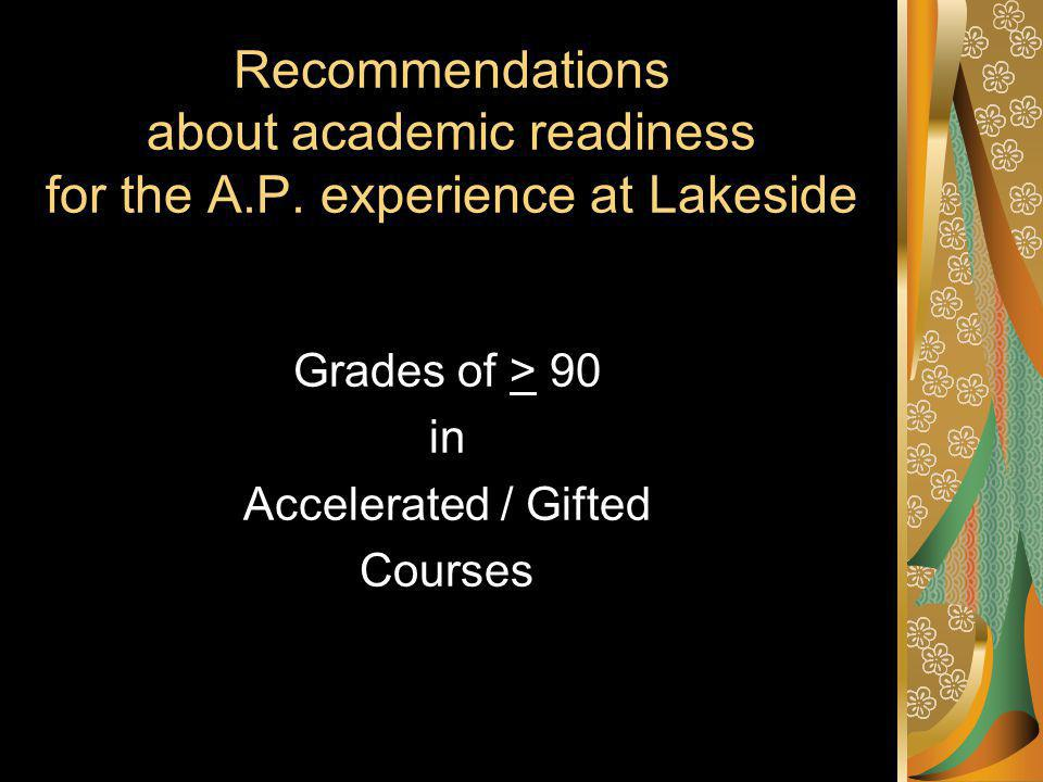Recommendations about academic readiness for the A.P.