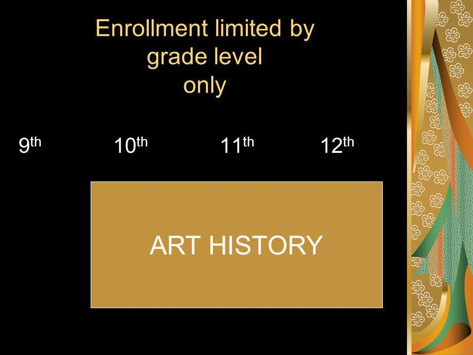 Enrollment limited by grade level only 9 th 10 th 11 th 12 th ART HISTORY