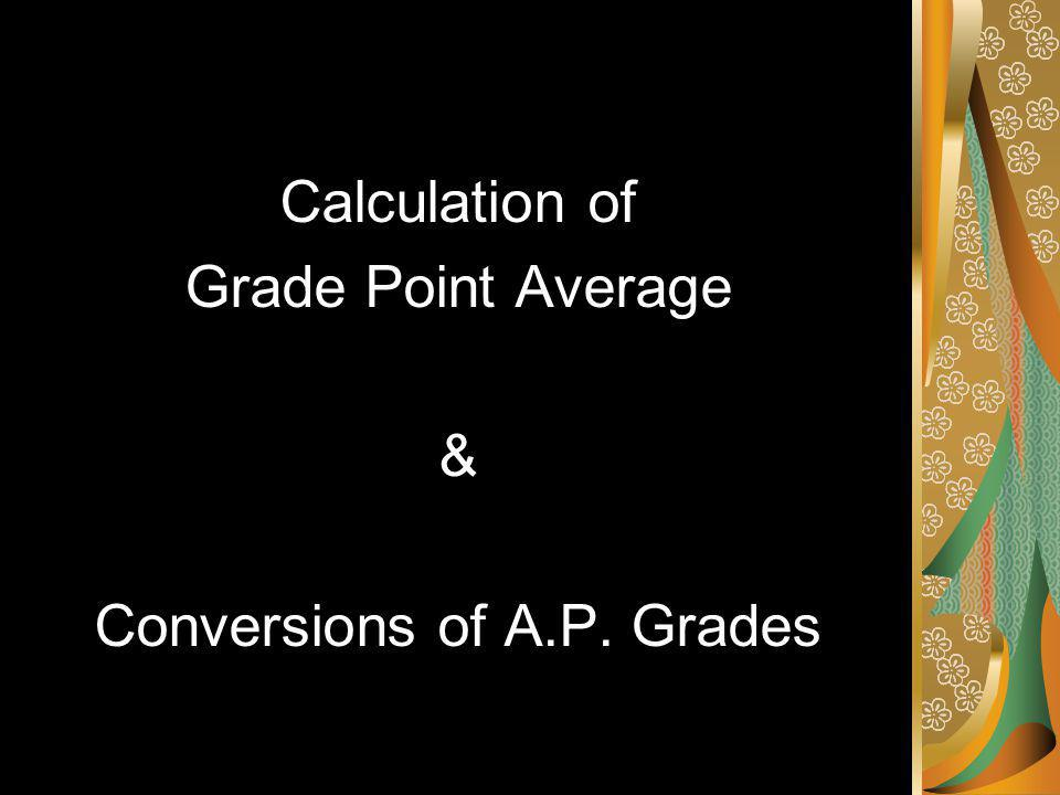 Calculation of Grade Point Average & Conversions of A.P. Grades
