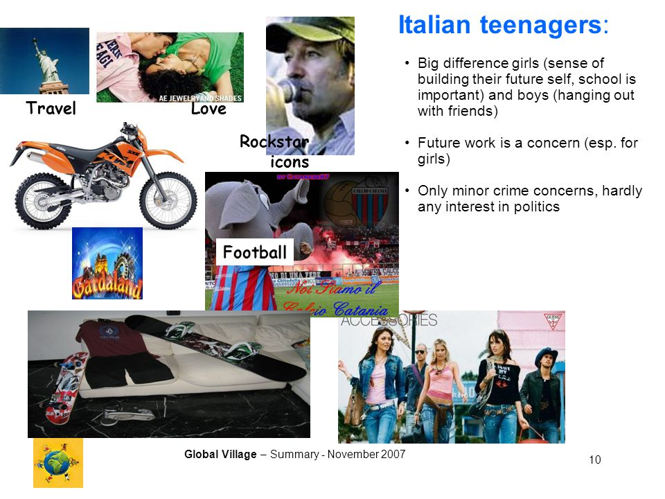 Global Village – Summary - November 2007 10 Rockstar icons Football TravelLove Italian teenagers: Big difference girls (sense of building their future self, school is important) and boys (hanging out with friends) Future work is a concern (esp.