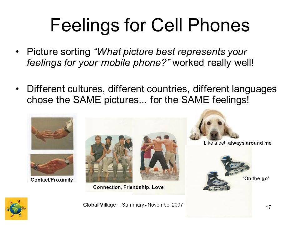 Global Village – Summary - November 2007 17 Contact/Proximity Feelings for Cell Phones Picture sorting What picture best represents your feelings for your mobile phone.