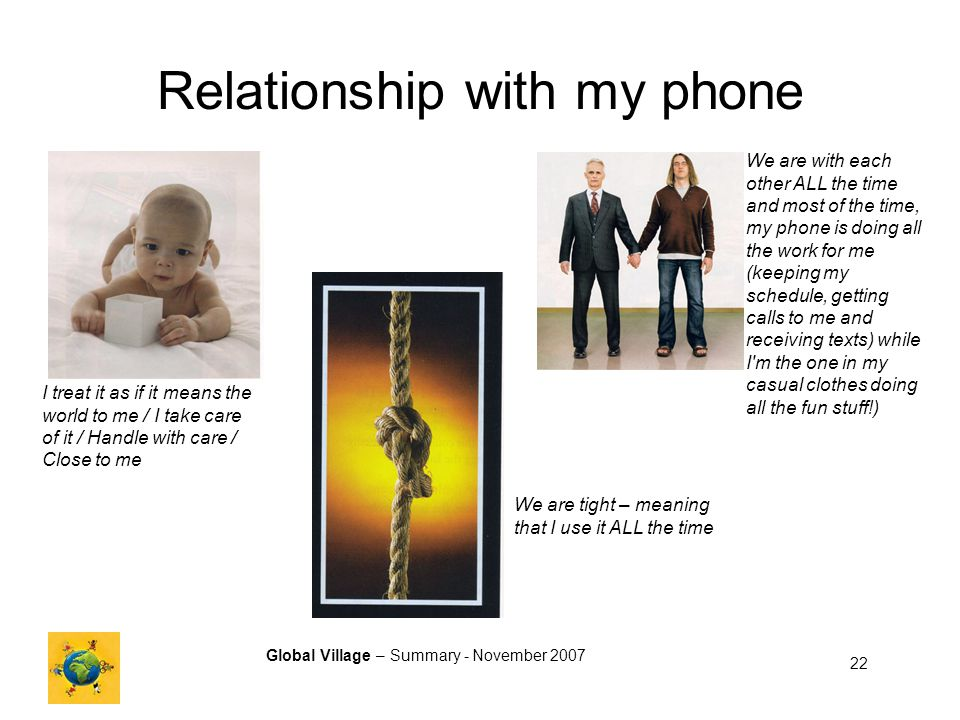 Global Village – Summary - November 2007 22 Relationship with my phone I treat it as if it means the world to me / I take care of it / Handle with care / Close to me We are tight – meaning that I use it ALL the time We are with each other ALL the time and most of the time, my phone is doing all the work for me (keeping my schedule, getting calls to me and receiving texts) while I m the one in my casual clothes doing all the fun stuff!)