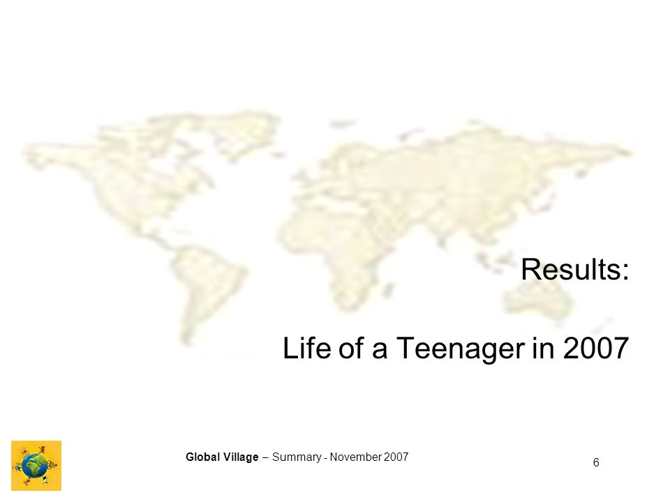 Global Village – Summary - November 2007 6 Results: Life of a Teenager in 2007