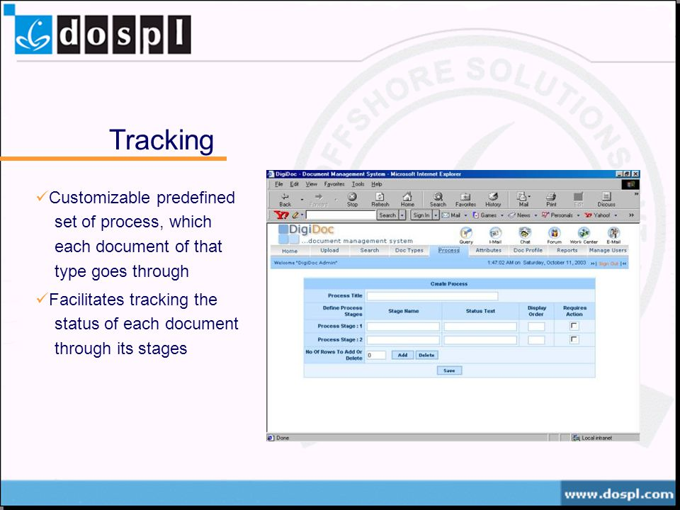 Tracking Customizable predefined set of process, which each document of that type goes through Facilitates tracking the status of each document through its stages