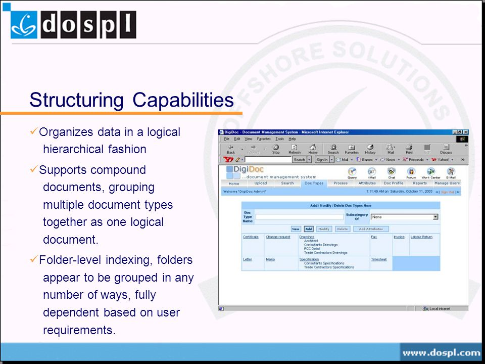 Structuring Capabilities Organizes data in a logical hierarchical fashion Supports compound documents, grouping multiple document types together as one logical document.