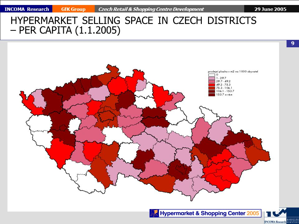 29 June 2005GfK GroupCzech Retail & Shopping Centre Development 9 INCOMA Research HYPERMARKET SELLING SPACE IN CZECH DISTRICTS – PER CAPITA (1.1.2005)