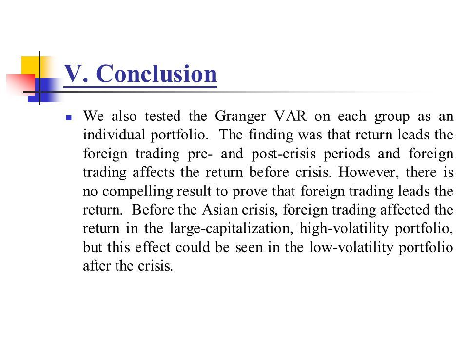 V. Conclusion We also tested the Granger VAR on each group as an individual portfolio.