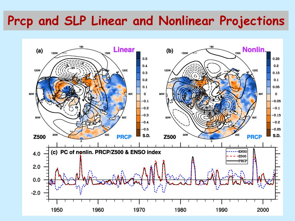 Prcp and SLP Linear and Nonlinear Projections
