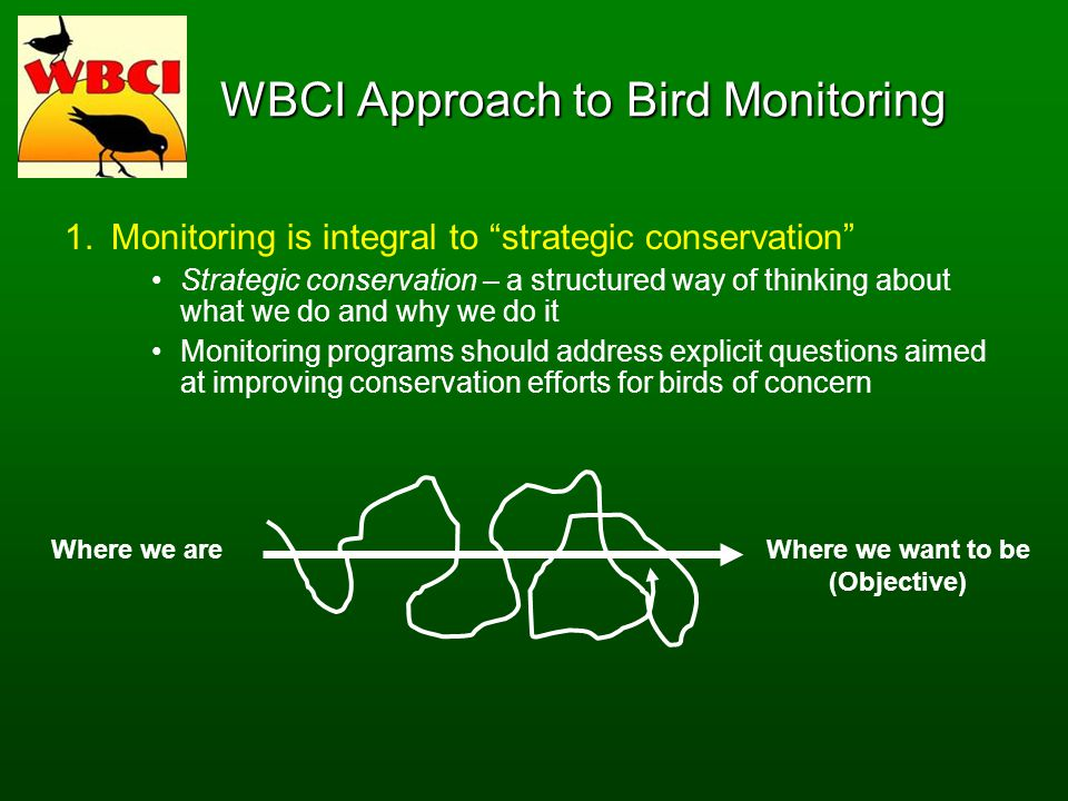 WBCI Approach to Bird Monitoring 1.Monitoring is integral to strategic conservation Strategic conservation – a structured way of thinking about what we do and why we do it Monitoring programs should address explicit questions aimed at improving conservation efforts for birds of concern Where we areWhere we want to be (Objective)