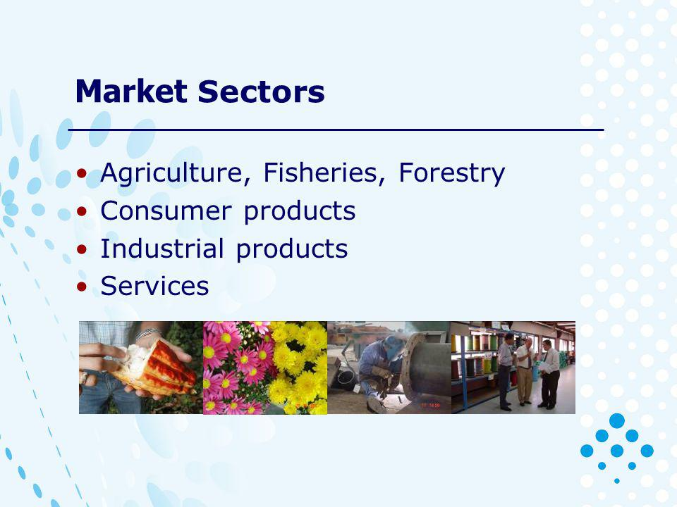Market Sectors Agriculture, Fisheries, Forestry Consumer products Industrial products Services