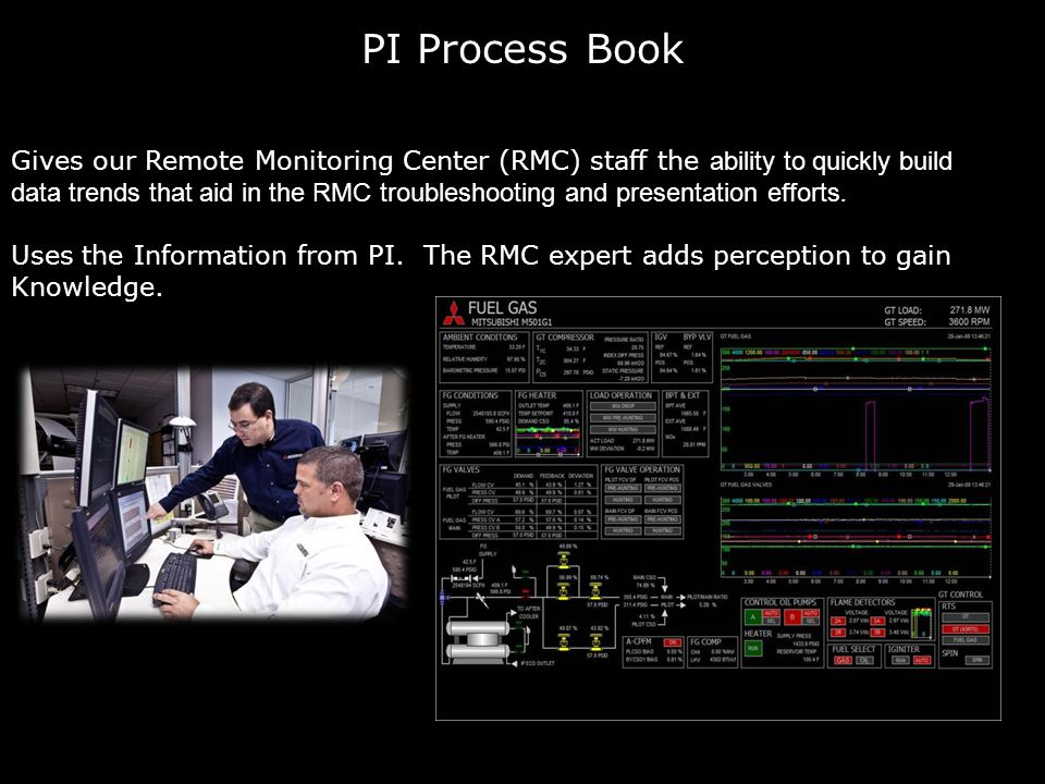 PI Process Book Gives our Remote Monitoring Center (RMC) staff the ability to quickly build data trends that aid in the RMC troubleshooting and presentation efforts.