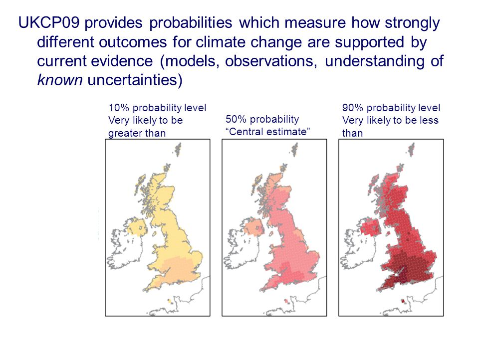 10% probability level Very likely to be greater than 90% probability level Very likely to be less than 50% probability Central estimate UKCP09 provides probabilities which measure how strongly different outcomes for climate change are supported by current evidence (models, observations, understanding of known uncertainties)