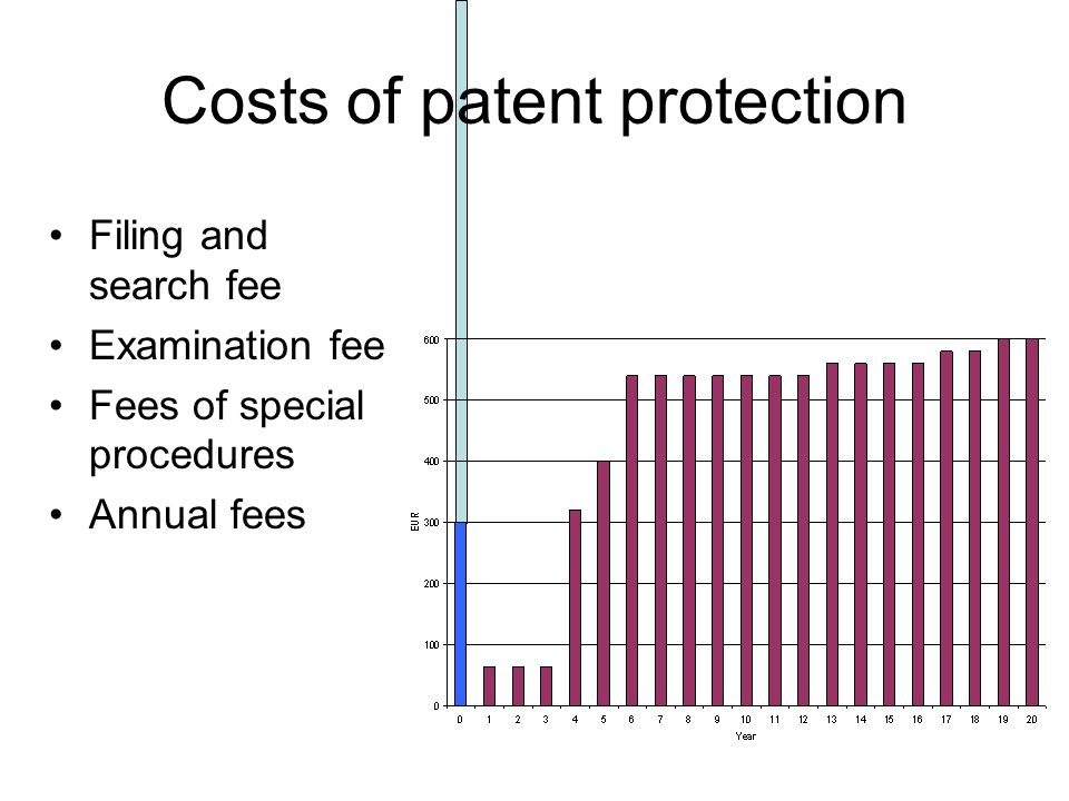 Filing and search fee Examination fee Fees of special procedures Annual fees Costs of patent protection