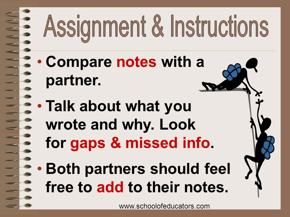 Compare notes with a partner. Talk about what you wrote and why.
