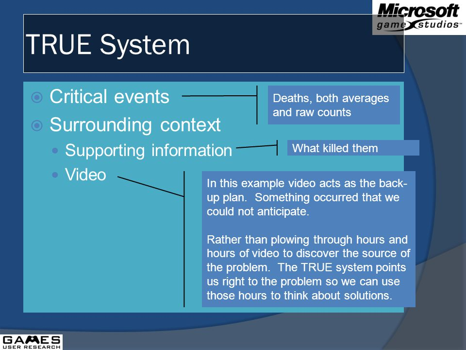 TRUE System Critical events Surrounding context Supporting information Video Deaths, both averages and raw counts What killed them In this example video acts as the back- up plan.
