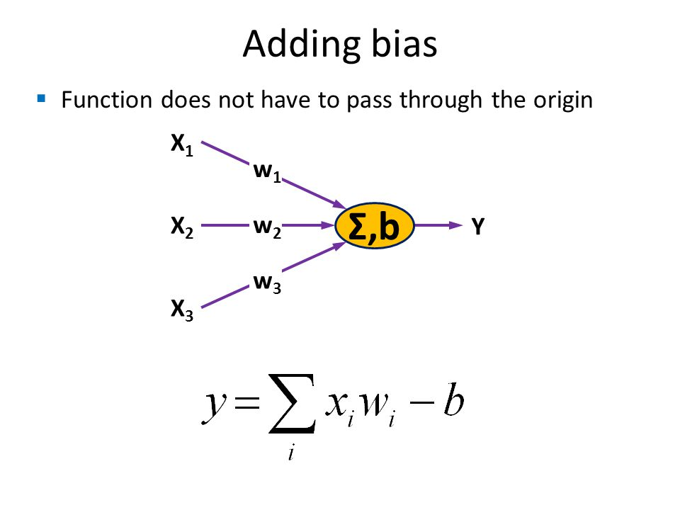 Adding bias Σ,b X1X1 w1w1 X2X2 X3X3 w2w2 w3w3 Y Function does not have to pass through the origin