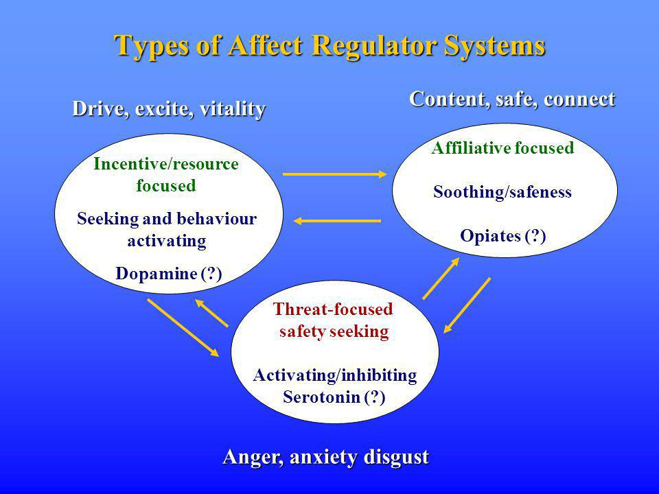 Types of Affect Regulator Systems Incentive/resource focused Seeking and behaviour activating Dopamine ( ) Affiliative focused Soothing/safeness Opiates ( ) Threat-focused safety seeking Activating/inhibiting Serotonin ( ) Anger, anxiety disgust Drive, excite, vitality Content, safe, connect