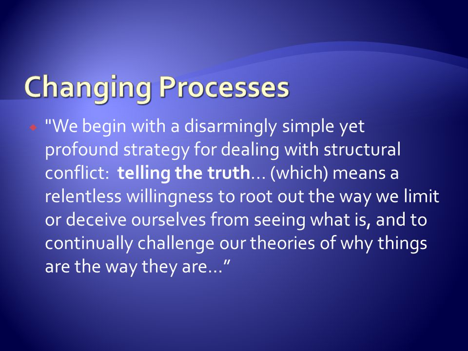 We begin with a disarmingly simple yet profound strategy for dealing with structural conflict: telling the truth...