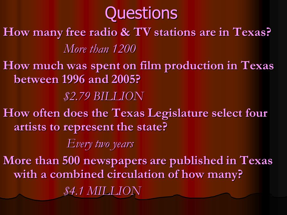 Questions How many free radio & TV stations are in Texas.