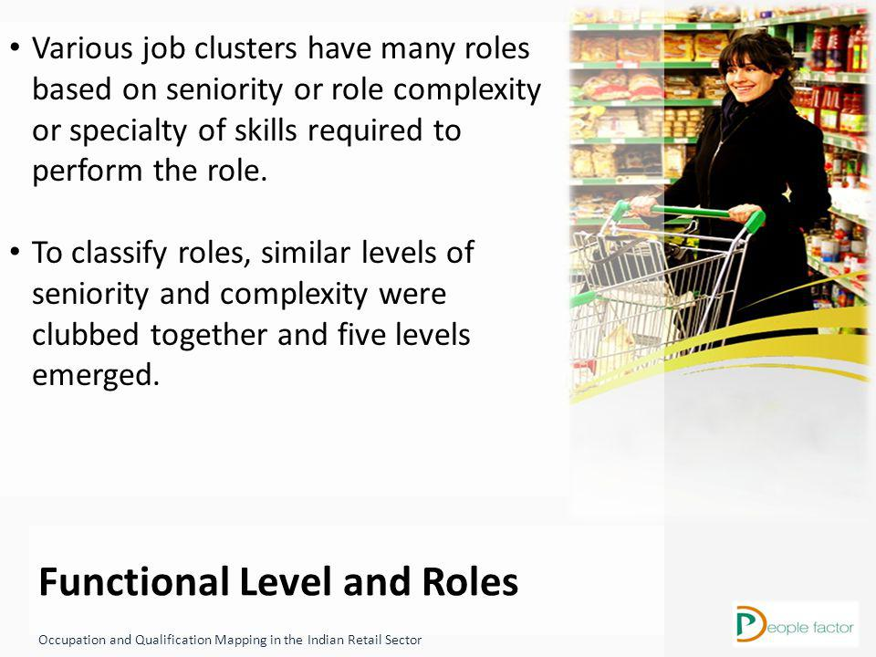 Functional Level and Roles Occupation and Qualification Mapping in the Indian Retail Sector Various job clusters have many roles based on seniority or role complexity or specialty of skills required to perform the role.
