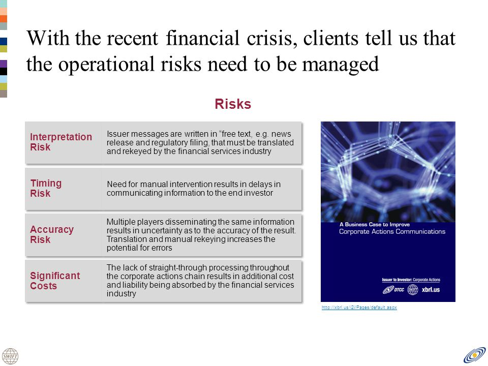 With the recent financial crisis, clients tell us that the operational risks need to be managed Interpretation Risk Interpretation Risk Issuer messages are written in free text, e.g.