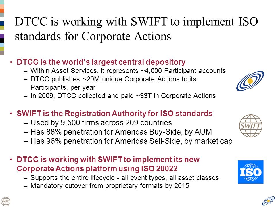 DTCC is working with SWIFT to implement ISO standards for Corporate Actions DTCC is the worlds largest central depository –Within Asset Services, it represents ~4,000 Participant accounts –DTCC publishes ~20M unique Corporate Actions to its Participants, per year –In 2009, DTCC collected and paid ~$3T in Corporate Actions SWIFT is the Registration Authority for ISO standards –Used by 9,500 firms across 209 countries –Has 88% penetration for Americas Buy-Side, by AUM –Has 96% penetration for Americas Sell-Side, by market cap DTCC is working with SWIFT to implement its new Corporate Actions platform using ISO 20022 –Supports the entire lifecycle - all event types, all asset classes –Mandatory cutover from proprietary formats by 2015