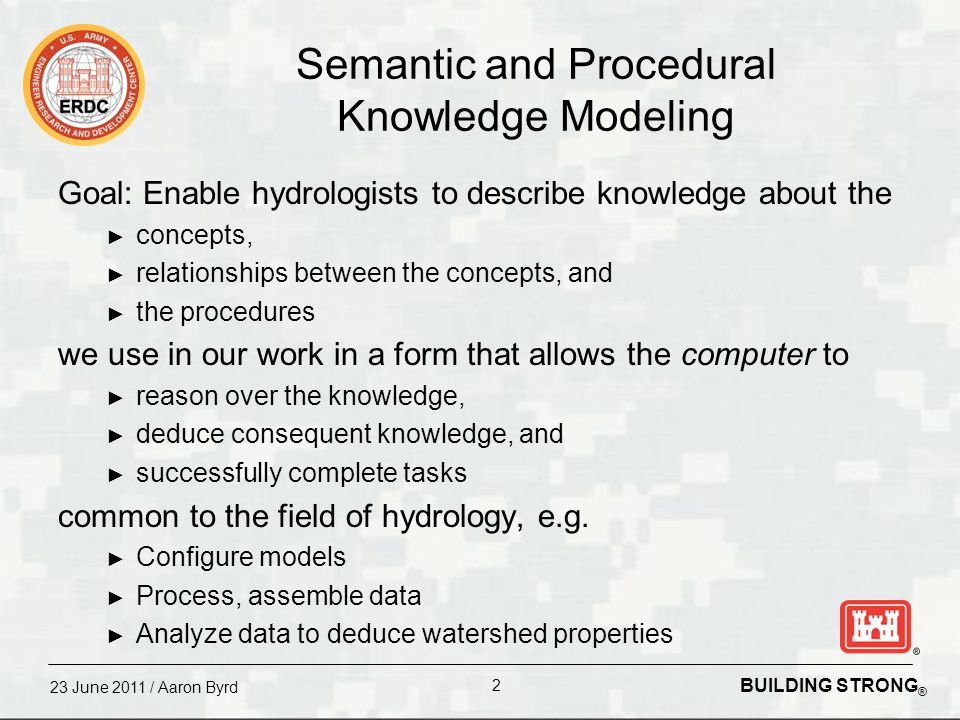 US Army Corps of Engineers BUILDING STRONG ® Integration of Procedural and Semantic Knowledge with an Application to Hydrology Aaron Byrd David Tarboton