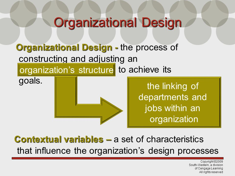 Copyright ©2009 South-Western, a division of Cengage Learning All rights reserved Organizational Design - Organizational Design - the process of constructing and adjusting an organizations structure to achieve its goals.