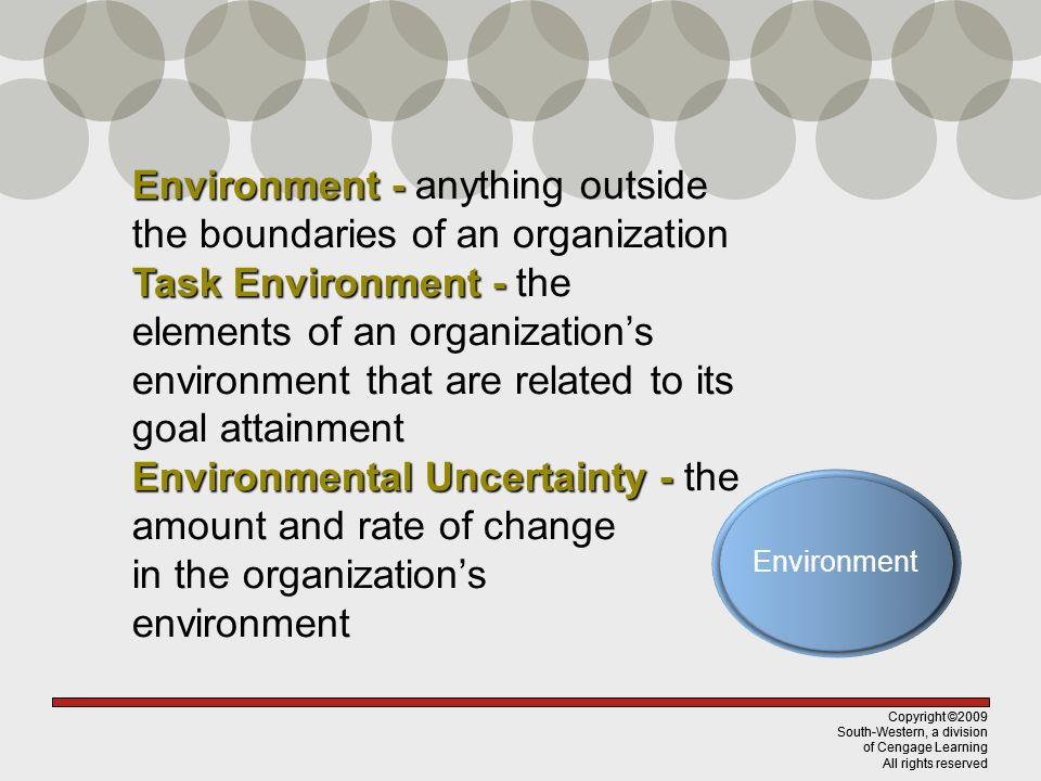 Copyright ©2009 South-Western, a division of Cengage Learning All rights reserved Environment - Environment - anything outside the boundaries of an organization Task Environment - Task Environment - the elements of an organizations environment that are related to its goal attainment Environmental Uncertainty - Environmental Uncertainty - the amount and rate of change in the organizations environment Copyright ©2009 South-Western, a division of Cengage Learning All rights reserved Environment