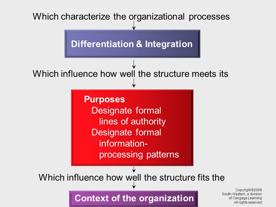 Which characterize the organizational processes Which influence how well the structure meets its Which influence how well the structure fits the Copyright ©2009 South-Western, a division of Cengage Learning All rights reserved Differentiation & Integration Purposes Designate formal lines of authority Designate formal information- processing patterns Context of the organization