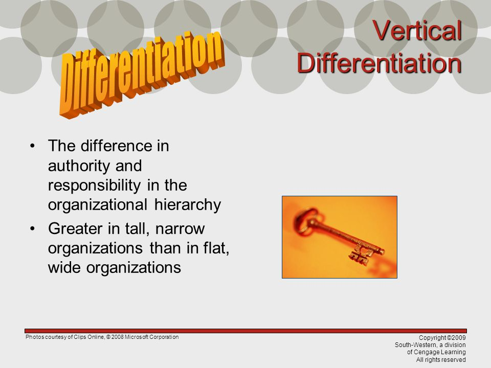 Copyright ©2009 South-Western, a division of Cengage Learning All rights reserved Vertical Differentiation The difference in authority and responsibility in the organizational hierarchy Greater in tall, narrow organizations than in flat, wide organizations Photos courtesy of Clips Online, © 2008 Microsoft Corporation