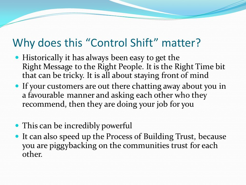 Why does this Control Shift matter.