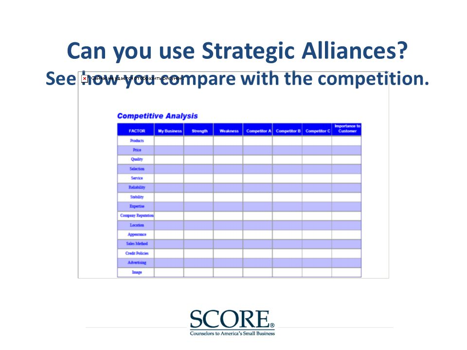 Can you use Strategic Alliances See how you compare with the competition.