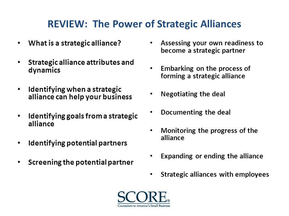 REVIEW: The Power of Strategic Alliances What is a strategic alliance.