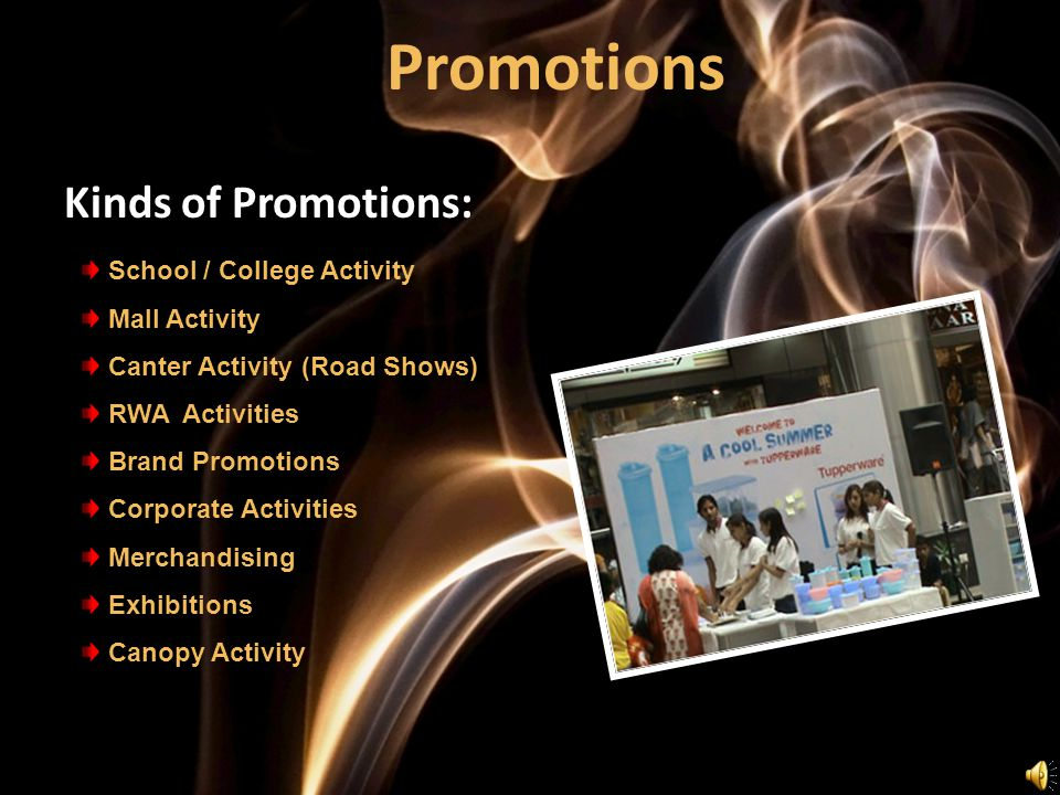 Promotions Kinds of Promotions: School / College Activity Mall Activity Canter Activity (Road Shows) RWA Activities Brand Promotions Corporate Activities Merchandising Exhibitions Canopy Activity