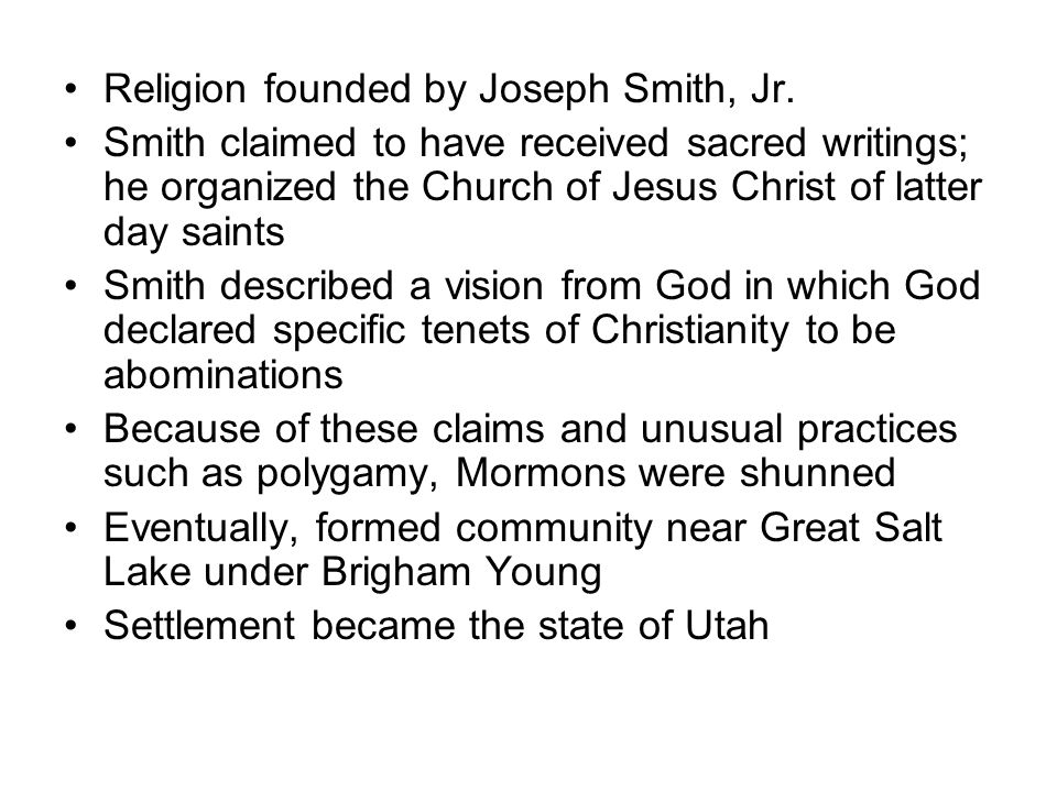 Religion founded by Joseph Smith, Jr.