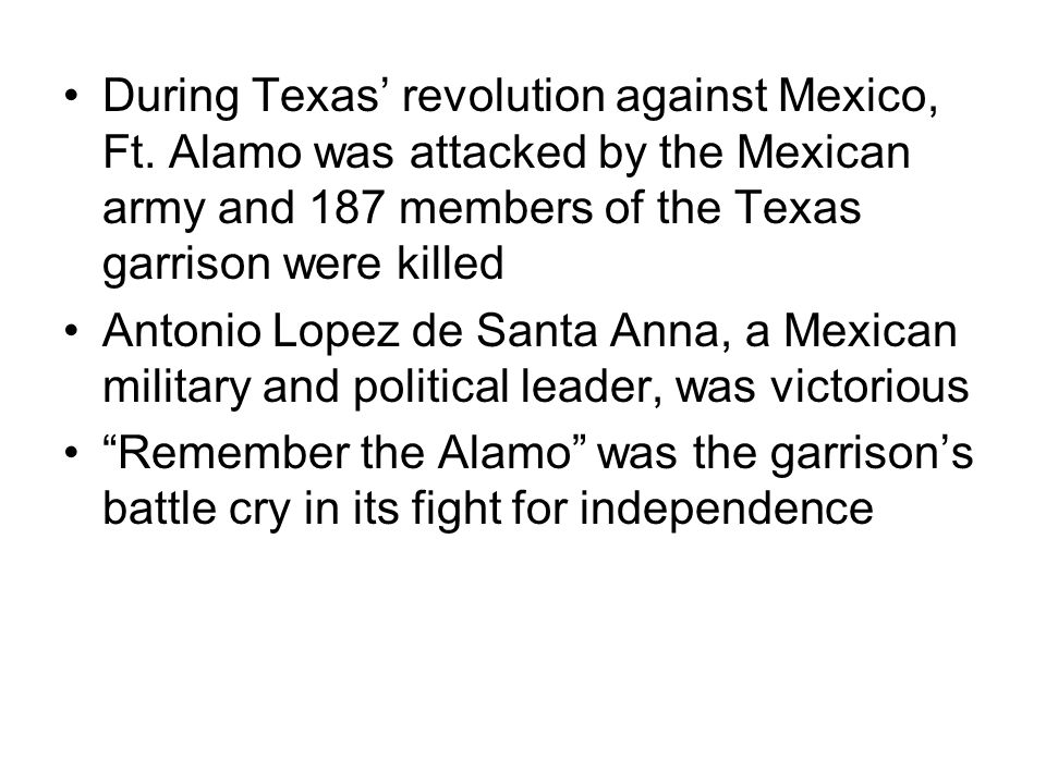 During Texas revolution against Mexico, Ft.