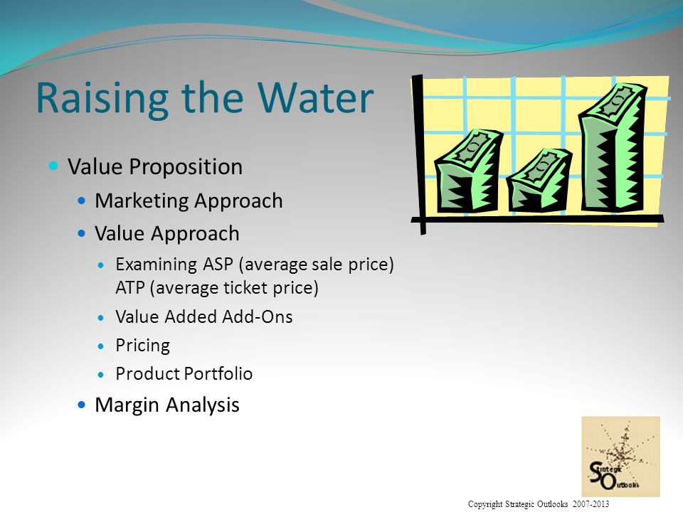 Copyright Strategic Outlooks 2007-2013 Raising the Water Value Proposition Marketing Approach Value Approach Examining ASP (average sale price) ATP (average ticket price) Value Added Add-Ons Pricing Product Portfolio Margin Analysis