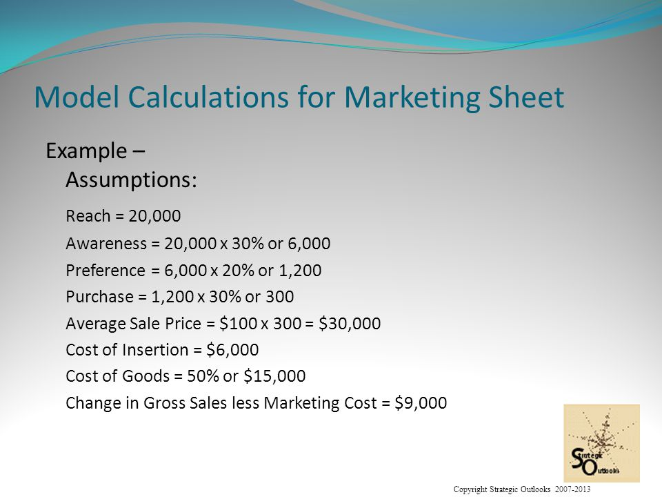 Copyright Strategic Outlooks 2007-2013 Model Calculations for Marketing Sheet Example – Assumptions: Reach = 20,000 Awareness = 20,000 x 30% or 6,000 Preference = 6,000 x 20% or 1,200 Purchase = 1,200 x 30% or 300 Average Sale Price = $100 x 300 = $30,000 Cost of Insertion = $6,000 Cost of Goods = 50% or $15,000 Change in Gross Sales less Marketing Cost = $9,000